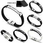 Personalized Engraved Custom Leather Stainless Steel Bracelet Mens Father's Day