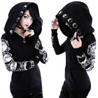 Black Gothic Punk Moon Hooded Coat Jacket Hoodie Long Sleeve Sweater Cosplay Top