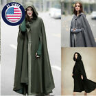 Women Fashion Maxi Hooded Warm Coat Jacket Cape Cashmere Loose Long Hooded Cloak