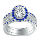 Blue Sapphire Engagement Wedding Ring Set For Women 925 Sterling Silver White Cz