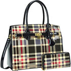 Dasein Plaid Patent Satchel with Matching Wallet
