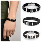 Men Stainless Steel Leather Bracelets Concise Cuff Wristband Bangle Jewelry