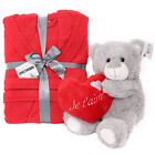 VALENTINES DAY GIFT SET RED BATHROBE I LOVE YOU HEART TEDDY BEAR 3X LANGUAGES