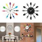 Wall Clocks Kitchen Clock, 3D Removable Modern Creative Cutlery Spoon Fork Decal