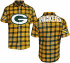 Forever Collectibles NFL Mens Green Bay Packers Color Block Short Sleeve Flannel on eBay