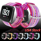 For Fitbit Versa Woven Nylon Fabric Wristband Classic Buckle Band Strap 22mm USA image