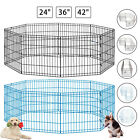 "24""36""42"" 8 Panel Pet Playpen Dog Cage Kennel Crate Metal Enclosure Fence"