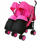 Twin Stroller Buggy Double Pushchair -Zeta Citi Twin With Footmuffs & Rain Cover