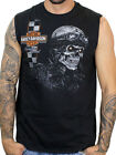 Harley-Davidson Mens Café Skull Black Sleeveless Muscle Shirt B&S image