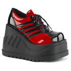 Huge Demonia 5' Vegan Shiny Black & Red Wedge Platform Sneaker Boots Shoes 6-11