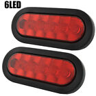 """PAIR 6 10 22 LED Trailer Truck 6"""" OVAL RED Tail Stop Rear Light Waterproof"""