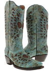 Womens Heart Wings Cowboy Boots Genuine Leather Snip Toe Rodeo Dress Turquoise