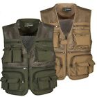 Mens Outdoor Multi Pocket Fly Fishing Vest Travelers Quick-Dry Jacket Plus Size