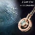 I Love You in 100 Languages Light Projection Pendant Necklace Women Jewelry LI image