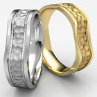 7mm Bone Style Hammered Finish Men's Women's Comfort Fit Gold Wedding Band Ring