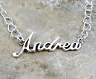 Sterling Silver Name Necklace - Andrea -on Heart Chain Your Choice Length - 1281
