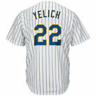 Men's Milwaukee Brewers 22# Christian Yelich Jersey White/Navy/Royal M-3XL