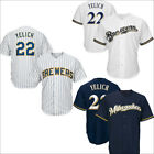 Mens Milwaukee Brewers 22 Christian Yelich Jersey White Navy Royal M 3XL