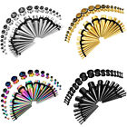 BodyJ4You 36PC Gauges Kit Ear Stretching 14G-00G Tunnels Tapers Piercing Set image