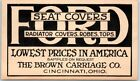 """1915 Cincinnati Ohio Advertising Postcard BROWN CARRIAGE CO. """"FORD Seat Covers"""""""