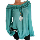 Plus Size Womens Long Sleeve Blouse Frill Off Shoulder Loose Top T Shirt Tunic