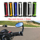 "Motorcycle Black Rearview Side Mirrors / Grips For 7/8"" 1"" Handle Bar End Honda $7.99 USD on eBay"