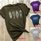 Summer Women's T-shirt Casual Leaves Print Crew Neck Short Sleeves Tops Tee New