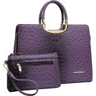 Dasein Ostrich Embossed Briefcase Satchel with Matching