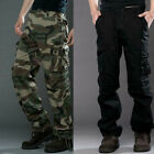 Men Airborne Army Loose Combat Cargo Camo Pocket Trousers Outdoor Workwear Pants
