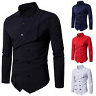 Men's Casual Shirts Double Breasted Long Sleeve Button Down Lapel Dress Shirts