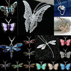 Rhinestone Crystal Butterfly Dragonfly Pendant Women Sweater Chain Necklace Gift
