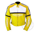 MEN'S TRIUMPH YELLOW COWHIDE RACING MOTORCYCLE LEATHER JACKET MADE TO ORDER $169.99 USD on eBay