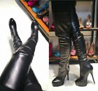Women's Stiletto Heels Zip Up Ladies Sexy Over Knee Thigh High Boots Shoes Party