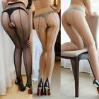 Back Seam Line Stockings  High Heels Tights Pantyhose 20D Sheer Open Crotch Hot