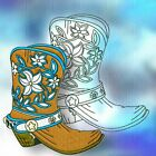WESTERN BOOTS 10 COLOUR AND 10 BLACKWORK MACHINE EMBROIDERY DESIGNS CD or USB