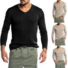Homme Col Rond Casual Shirts Pullover Casual Slim Muscle Hauts à Manches Longues