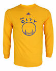 Adidas NBA Mens Golden State Warriors Bridge Graphic Long Sleeve Tee, Yellow