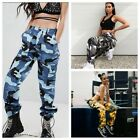 Women Camo Cargo Casual Pants Military Army Camouflage Hip Hop Loose Trousers US