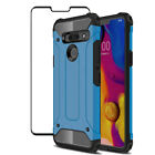 For LG G6 /G7 /G8 ThinQ Shockproof Hybrid Bumper Armor Case Cover+Tempered Glass