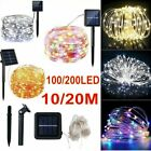 Solar Powered String Lights 100/200 LED Fairy Copper Wire Lights 72ft 8 Modes