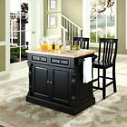 Crosley Butcher Block Top Kitchen Island with 24 in. School House Stools
