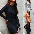 Womens Round Neck Long Sleeve Winter Warm Solid Color Sexy Bodycon Knit Dress