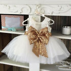 Baby Children Dresses Sleeveless Sequins Bow Wedding Birthday Party Girls Dress