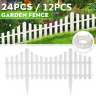 12/24pack Fence Garden Lawn Edging Border White Panel Path Plastic Home Decor