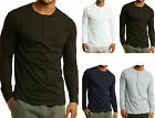 Men's Long Sleeve Henley 3 Button Pullover Cotton T-Shirt Crew Neck image