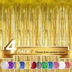 Foil Fringe Curtain, Tinsel Backdrop Door Curtains For Decoration 4 Pcs 12' X 8'