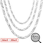 Fashion 925 Silver Plated 16-30 Inch 2mm Chain Women Necklace Simple Jewelry