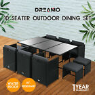 11pcs Outdoor Dining Furniture Set Wicker Garden Table & Chairs