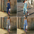 Womens Denim Jumpsuit Ladies Flowers Overalls Slim Loose Jeans Trousers