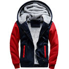 Men Faux Fur Lined Winter Warm Hoodie Jacket Thick Padded Hooded Sweater Coat